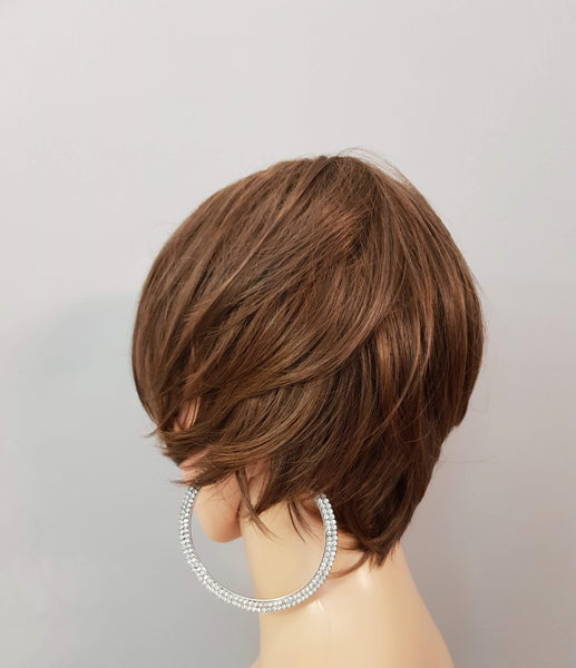 Synthetic Short Pixie Style Medium Brown Wig - wonda wigs