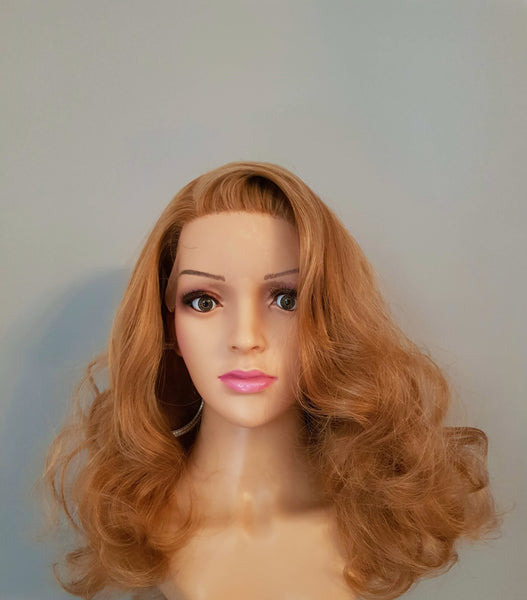 "Synthetic Custom Made Strawberry Blonde Lace Front Wig 16"" - wonda wigs"