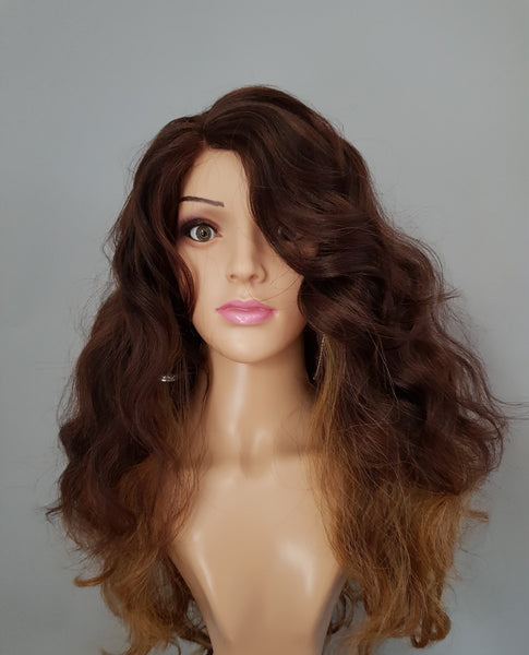 "Synthetic 2 Tone Reddish Brown Blonde Wavy Wig 18"" - wonda wigs"
