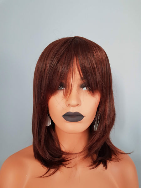 "Synthetic Silky Straight Chestnut Brown Wig With Bangs 12"" - wonda wigs"