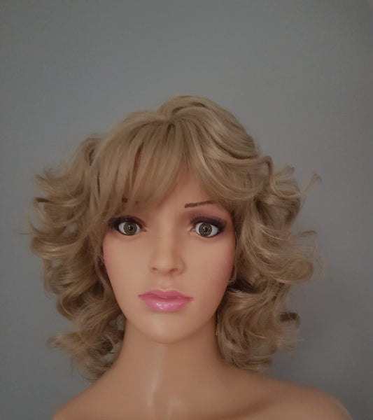"Cosplay Character Fancy Dress Synthetic Non Lace Blonde Curly Wig 12"" - wonda wigs"