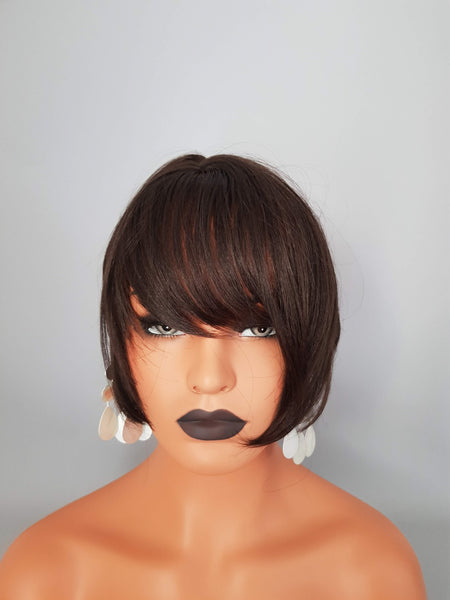 Synthetic Non-Lace Dark Brown Short Bob Style Wig With Bangs - wonda wigs