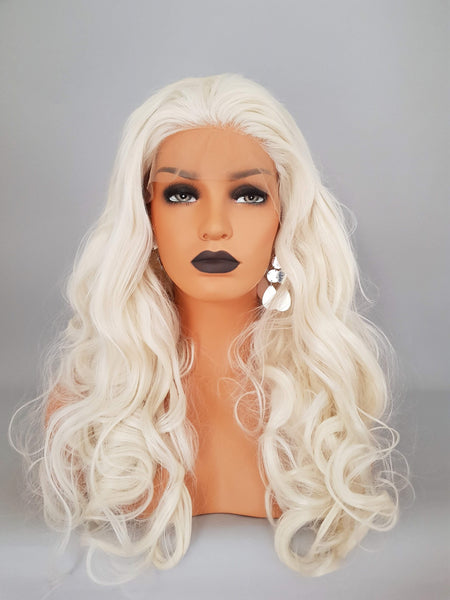 "Synthetic Cool Light Blonde Lace Front Curly Wig 18"" - wonda wigs"