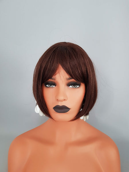 Synthetic Silky Straight Chestnut Brown Bob Style Wig - wonda wigs