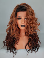 "Auburn Blonde Ombre Wavy Lace Front Synthetic Wig 18"" - wonda wigs"