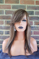 "Human Hair Brown With Blonde Highlights Straight Layered Wig 14"" - wonda wigs"