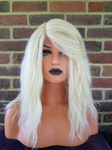 "Light Blonde Wavy Lace Front Synthetic Wig 14"" - wonda wigs"