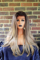 "Ash Brown & Sandy Blonde Ombre Synthetic Layered Lace Front Wig 24"" - wonda wigs"