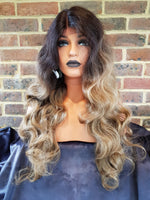 Dark Brown Golden Brown Ombre Lace Front Wavy Wig 22""