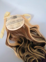"Blonde and Brown Ribbon Tie Synthetic Ponytail 16"" - wonda wigs"
