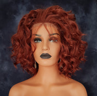 "Cinnamon Red Shaggy Synthetic Lace Front Wig 12"" - wonda wigs"