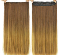 "Clip In Synthetic 5 Comb One Piece Hair Extension Brown Honey Blonde 18"" - wonda wigs"