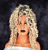 "Synthetic Light Blonde Ombre Spiral Curly Lace Front Wig 12"" - wonda wigs"
