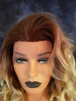 "Human Hair Lace Front Reddish Brown Golden Blonde Ombre Wig 16"" - wonda wigs"