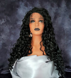 "Synthetic Lace Front Long Curly Black Wig 22"" - wonda wigs"
