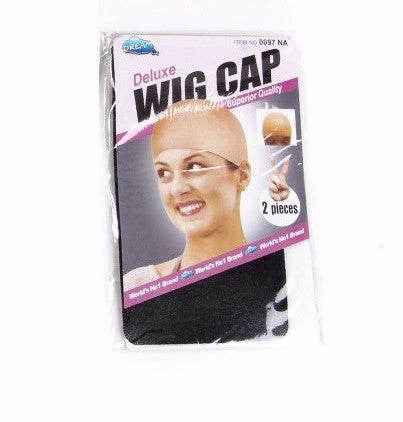 Pack of 2 (Black) Wig Caps One Size - wonda wigs