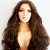 "Custom Made Brown Lace Front Long Curly Wig 26"" - wonda wigs"