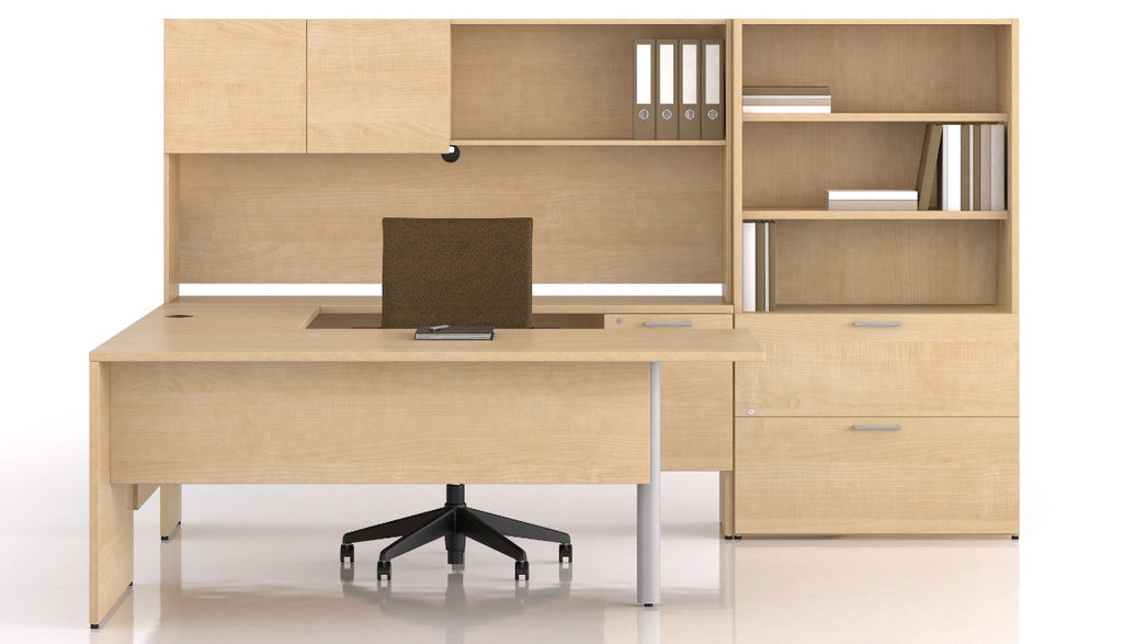 bureau en u retour droit tag re et rangement s rie 300 solutions m3. Black Bedroom Furniture Sets. Home Design Ideas
