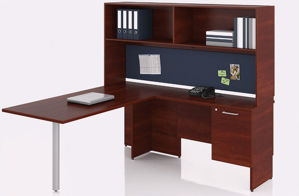 bureau en l retour droit avec tag re s rie 300 solutions m3. Black Bedroom Furniture Sets. Home Design Ideas