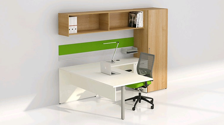bureau en l retour droit avec tag re murale s rie 300 solutions m3. Black Bedroom Furniture Sets. Home Design Ideas