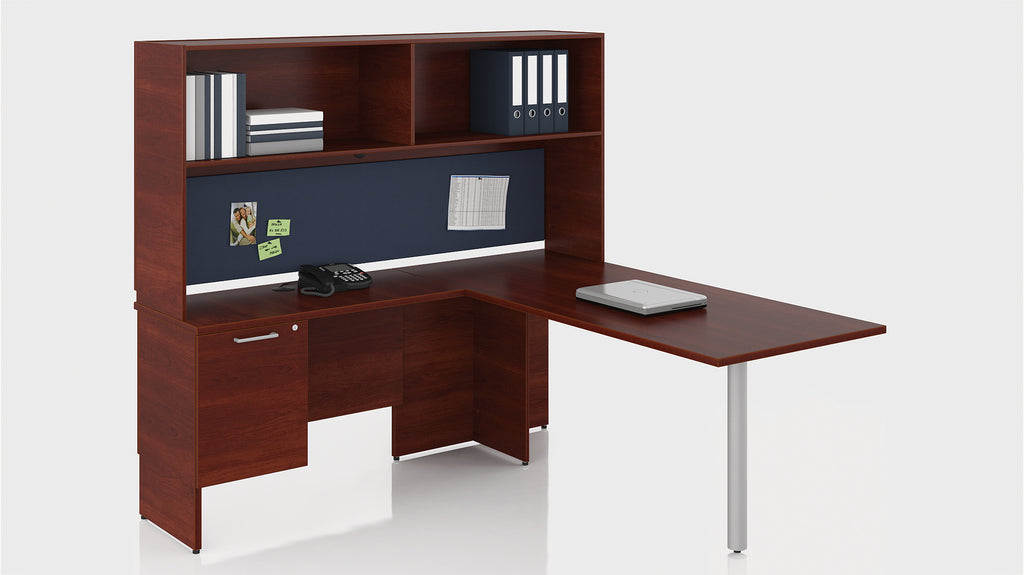 bureau en l retour gauche avec tag re s rie 300 solutions m3. Black Bedroom Furniture Sets. Home Design Ideas