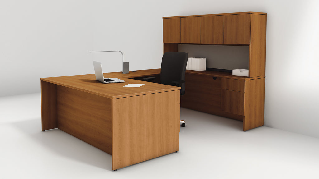 bureau en u retour droit avec tag re s rie 400 solutions m3. Black Bedroom Furniture Sets. Home Design Ideas