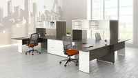 Lacasse ensemble de 4 postes de travail - mobilier de bureau en L - Collection CA CA1ES-PLAN10