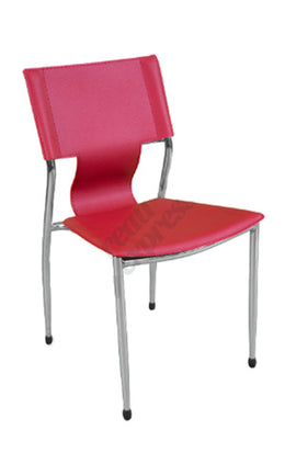 Chaise empilable en cuirette rouge