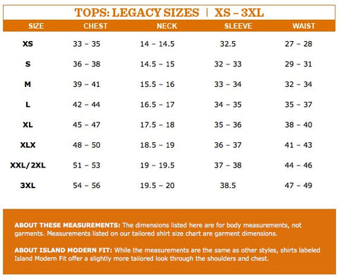 tommy bahama size chart sizing guide fit guide