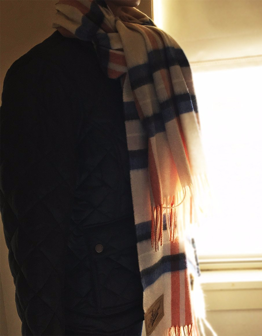 Women's Barbour | Country plaid Wrap | Cream/Blue