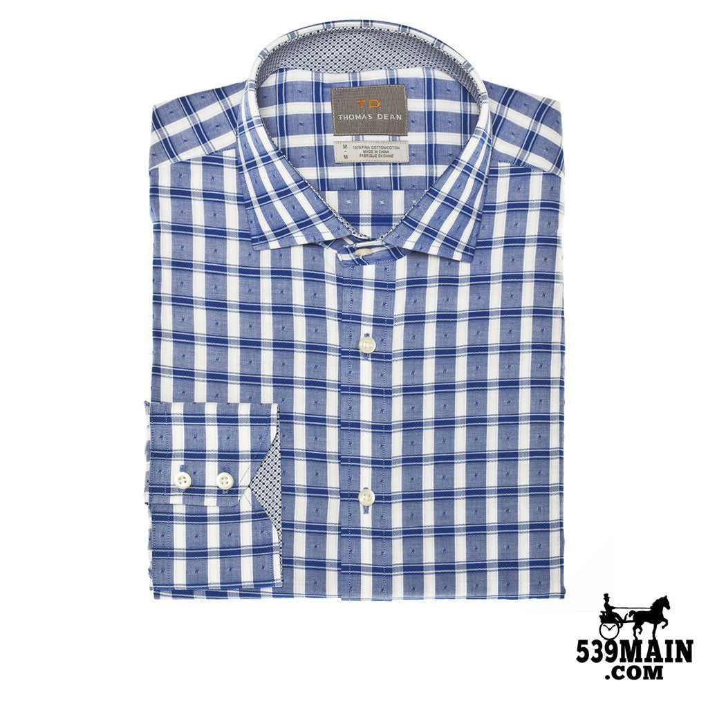 THOMAS DEAN™ - BLUE CHECK WITH FIL COUPE - BUTTON DOWN SPORT SHIRT - T49W15-218 - 539MAIN - 1