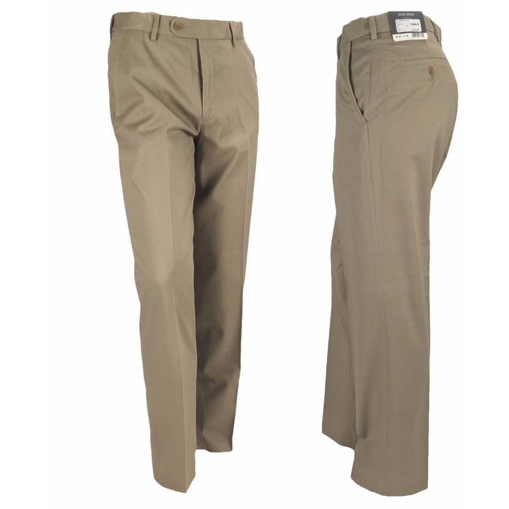 ENRO™ - FLAT FRONT PERFORMANCE NON-IRON COTTON KHAKI - 539MAIN - 1