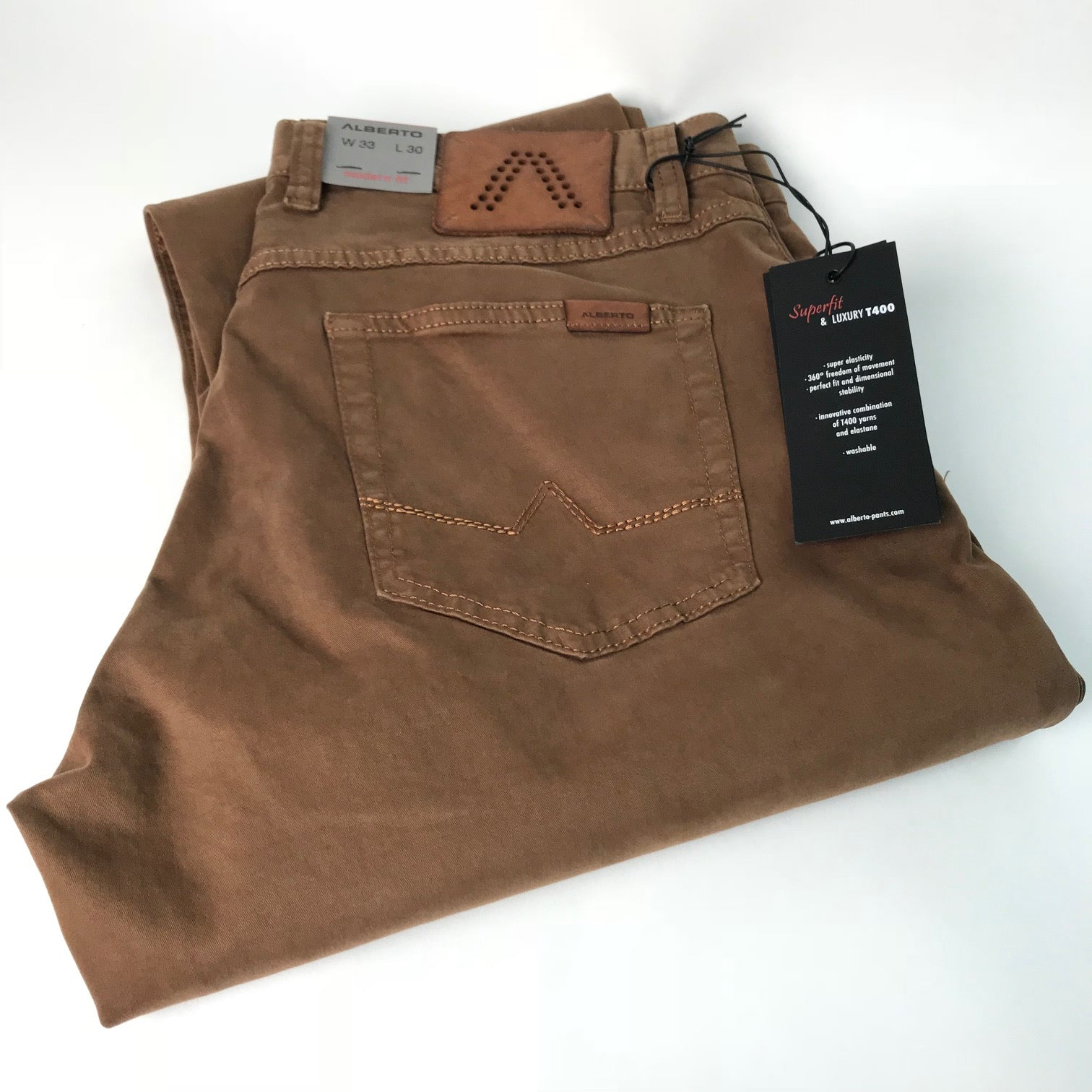 2e51c335d43f Men's Alberto | 1404 Stone Modern Fit Jean | Luxury T400 | Camel - FL Crooks