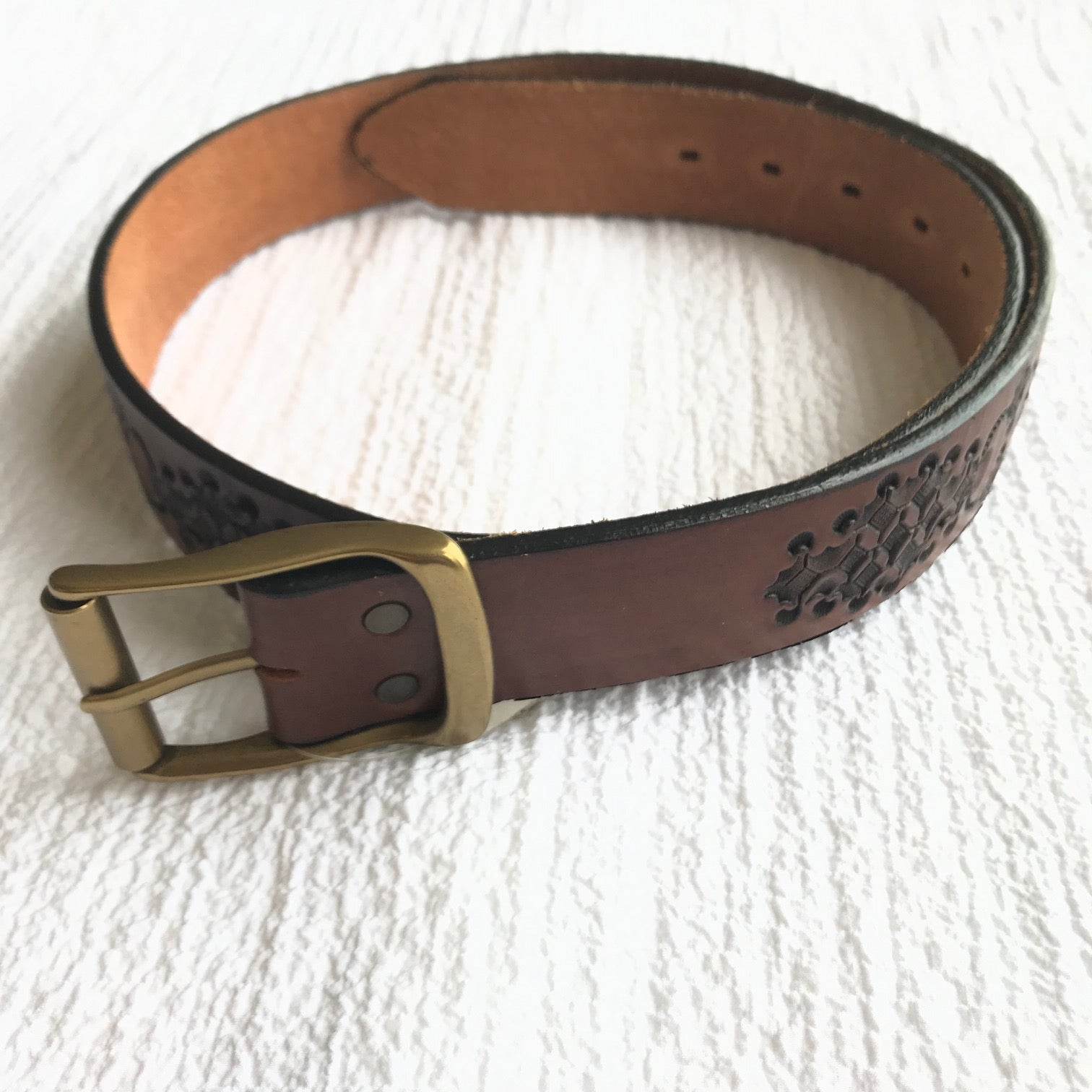 Brighton | Hand Tooled Honest by Brighton Patterned Belt | Brown - Size 38 only