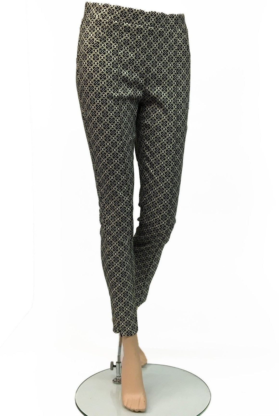 Women's Joseph Ribkoff | Style# 164757 Pull-On Pant | Black and Metallic Gold