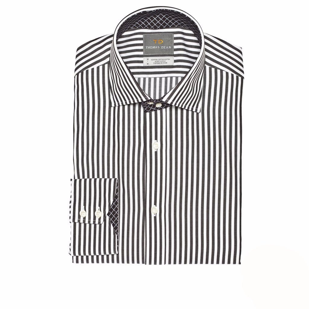 THOMAS DEAN™ - BLACK JACQUARD STRIPE - BUTTON DOWN SPORT SHIRT - T3A15-120 - 539MAIN - 1