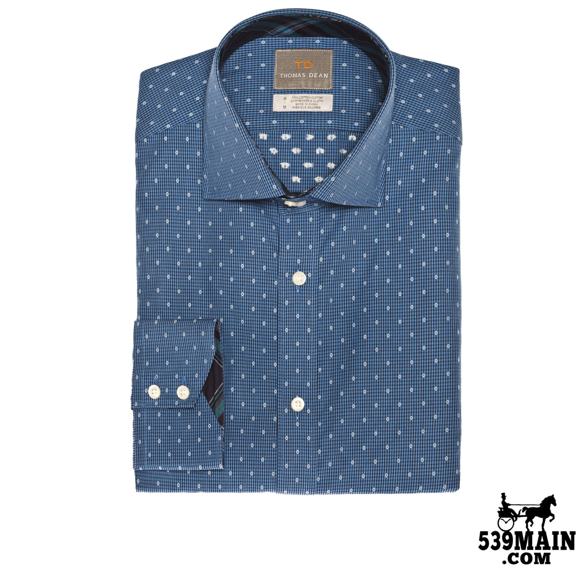 THOMAS DEAN™ - BLUE CHECK WITH FIL COUPE - BUTTON DOWN SPORT SHIRT - T3A15-228 - 539MAIN - 1