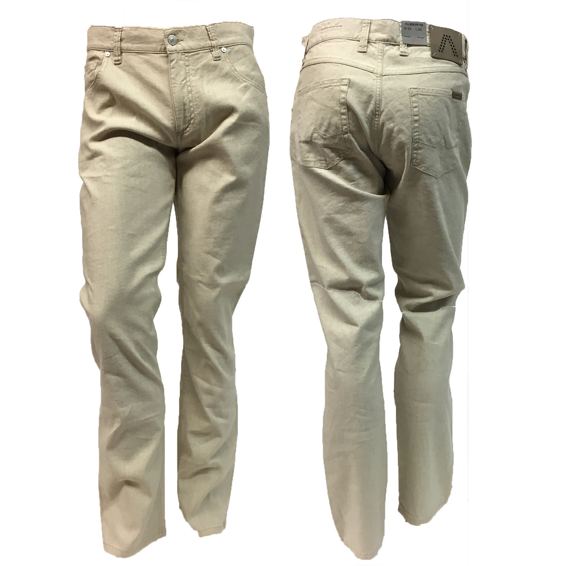 Men's Alberto | Stone | Modern Fit | Linen Stretch | Natural | 1331-135