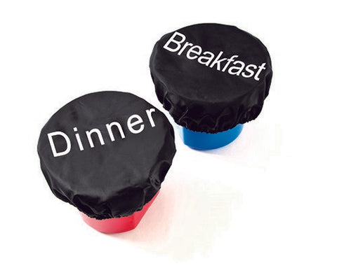 Feed Bucket Cover Set (Breakfast,Dinner) - Black - One Size