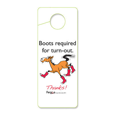 "Fergus Stall Door Hanger ""Boots Required"""