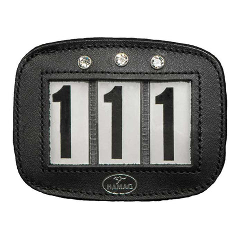 Saddle Pad Number Holder, Black, Swarovski Crystal, with Pin