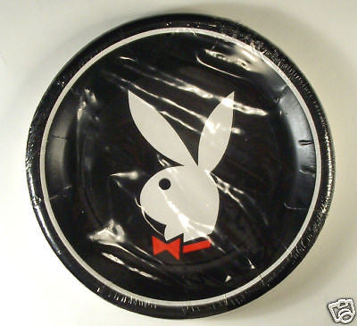 Vintage 1980's Playboy Bunny Logo Plate Set 10 Inch Plates Factory Sealed Set