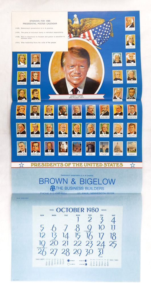 Vintage 1980 Jimmy Carter Presidential Biographies Calendar Print