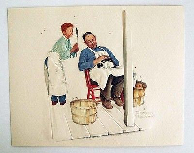 Vintage Norman Rockwell Swatter's Rights A Helping Hand Series Embossed Print 1