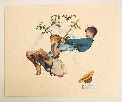 Vintage 1970's Norman Rockwell Flying High The Swing Young Love Series Print 1
