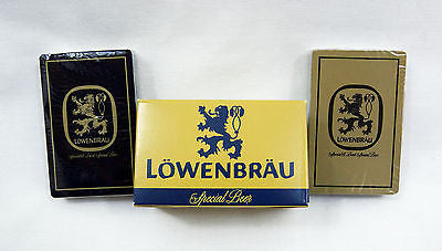 Vintage 1970's Lowenbrau Beer Case Two Deck Playing Cards Set