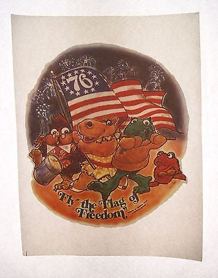 Vintage 1976 New Zoo Revue Fly the Flag of Freedom Iron On T Shirt Transfer