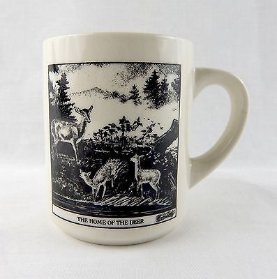 Vintage 1980's Currier and Ives The Home of the Deer Ceramic Coffee Mug