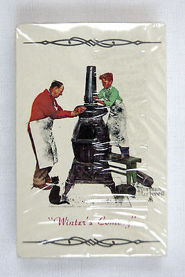 Vintage Norman Rockwell Winter's Coming The Coal Season's Coming Playing Cards
