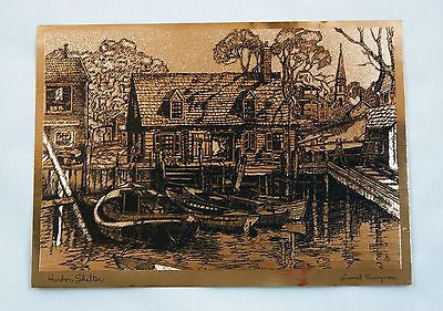 Vintage 1970's Lionel Barrymore Harbor Shelter Copper Foil Etch Print